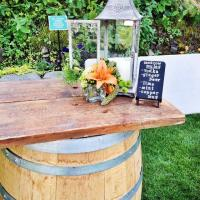 Wine Barrel Bar set-up with Vintage Lanterns
