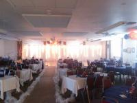 Custom Backdrop and Paper Lantern Bundles with Tissue Poms, a beautiful setting