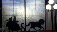 horse and carriage graphics with winter wonderland window backdrops